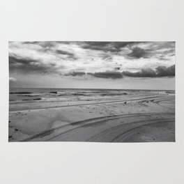 Driving on Assateague Island (Black and White) Rug