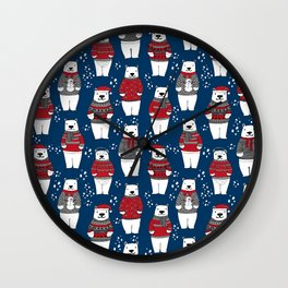 Polar Bear character cute christmas sweater polar bears nature illustration pattern Wall Clock