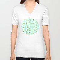 gold foil V-neck T-shirts featuring Mint Gold Foil 01 by Aloke Design