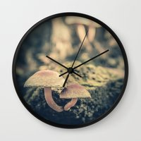 mushrooms Wall Clocks featuring mushrooms by Koka Koala