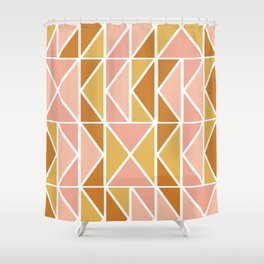 Blush and Terracotta Shapes Shower Curtain