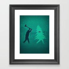Funny Christmas Tree Hunted by lumberjack (Funny Humor) Framed Art Print