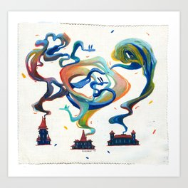 smoke in rainbow Art Print