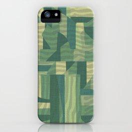 mid-century green pattern iPhone Case