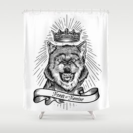 """Feast Or Famine"" – Crowned Wolf Shower Curtain"