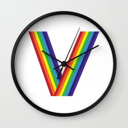 Rainbow Monogram - Letter V Wall Clock