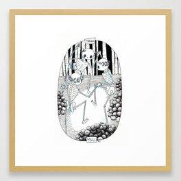 Three of Cups Skeleton Tarot Framed Art Print