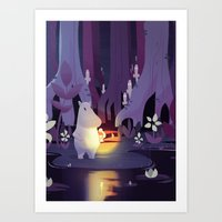moomin Art Prints featuring Forest spirits by Powersimon