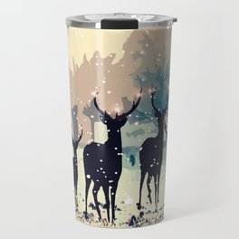 Deer in the snowy forest Travel Mug