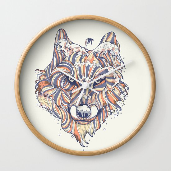 Wave Wolf Wall Clock
