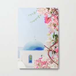 Santorini Greece Mamma Mia pink flowers travel photography in hd. Metal Print