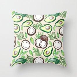 Coconuts & Avocados Throw Pillow