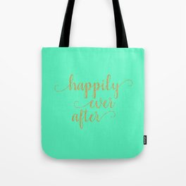 Happily Ever After - Mint and Gold Tote Bag