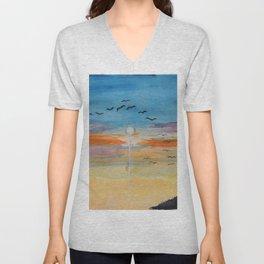 Birds and sunset Unisex V-Neck