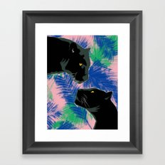 Panthers with palm leaves Framed Art Print