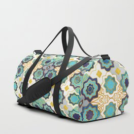 Marrakesh gold and blue geometry inspiration Duffle Bag
