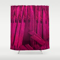 leather Shower Curtains featuring Leather pattern by Pepita Selles