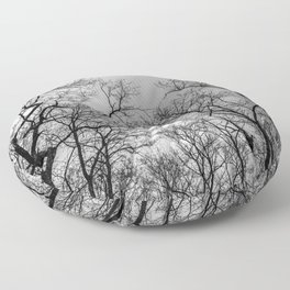 Black and white naked trees silhouette Floor Pillow