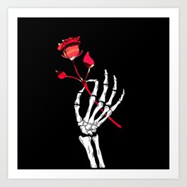 A Skeleton Hand Holding a Red Rose Art Print
