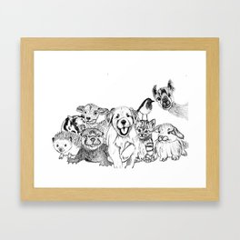 Happiness is animals Framed Art Print