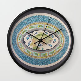 Salmon of Knowledge Mandala Celtic Knot Painting Wall Clock
