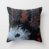 black widow Throw Pillows featuring widow by Shea33