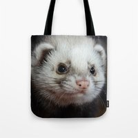 ferret Tote Bags featuring Cute Ferret by TheDookingFerret