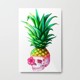 Pineapple Skull Metal Print