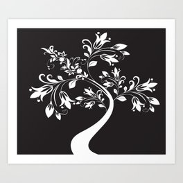 BLACK TREE Abstract Art Art Print