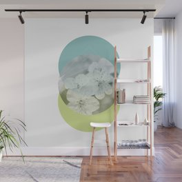 Blue lime blossoms circles geometric collage Wall Mural