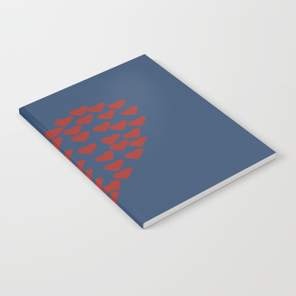 Hearts Heart Red On Navy Notebook by Projectm NBK999361