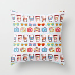 Coffee cup pattern - sunglasses - photocamera - colorful hipster pattern - have a nice day Throw Pillow