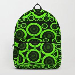 Green Rings on Black Background Backpack