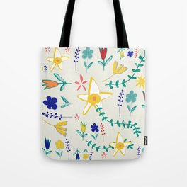 Floral The Tortoise and the Hare is one of Aesop Fables beige Tote Bag