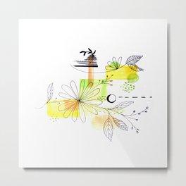 Simple Lines Flowers Metal Print