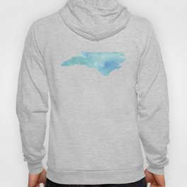 Watercolor State Map - North Carolina NC blue green Hoody