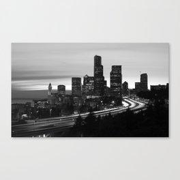 Seattle Skyline Sunset City - Black and White Canvas Print