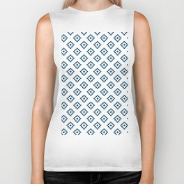 Geometrical abstract hand painted navy blue pattern Biker Tank
