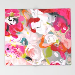 Dream flowers in pink rose floral abstract art Throw Blanket