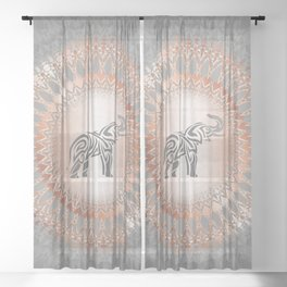 Rose Gold Gray Elephant Mandala Sheer Curtain
