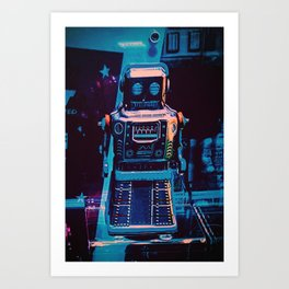 Blue Vintage Robot 1 Art Print