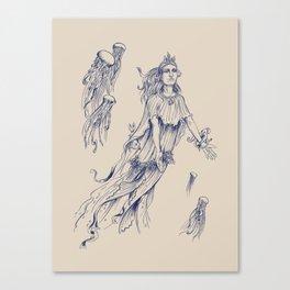 Sea Posse III - Jellyfish, Navy Print Canvas Print