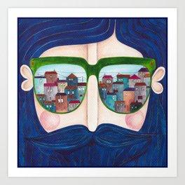 moustache and sunglasses Art Print