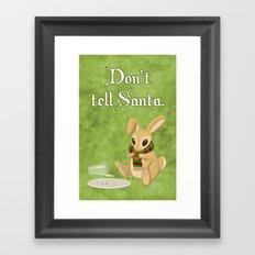 Bunny Santa Card Framed Art Print