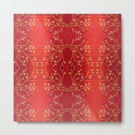 Golden blossoms on red Metal Print