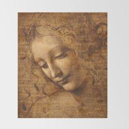 Head of a Woman Painting by Leonardo da Vinci Throw Blanket