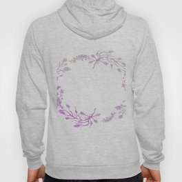 Wreath Floral In Pink And Purple Hoody