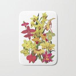 Orchids - Hot Colors! On white Bath Mat