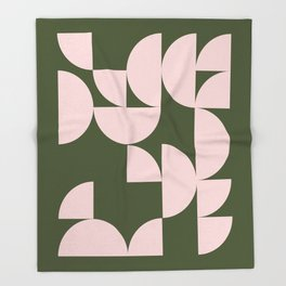 Minimalist Geometric Shapes in Forest Green and Blush Pink Throw Blanket