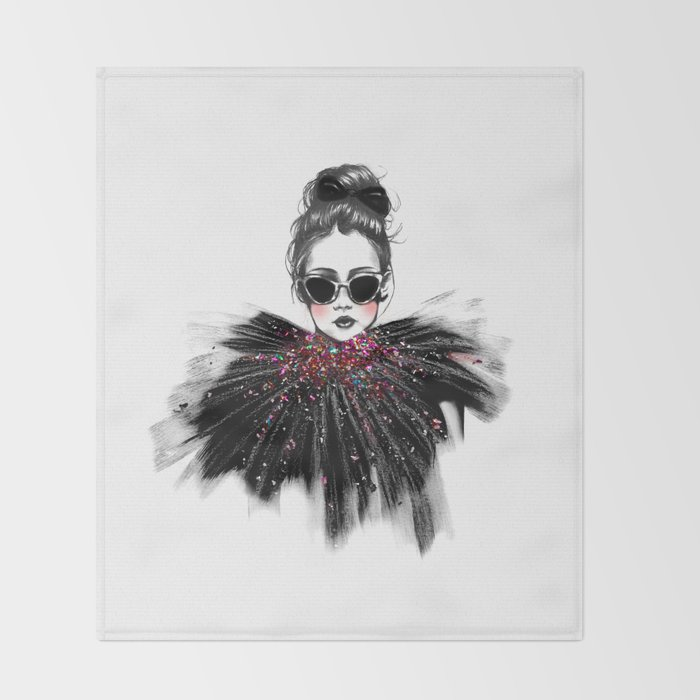Lua // Fashion Illustration Throw Blanket